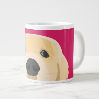 Illustration Golden Retriver with pink background Large Coffee Mug