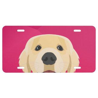 Illustration Golden Retriver with pink background License Plate