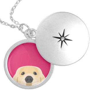 Illustration Golden Retriver with pink background Locket Necklace