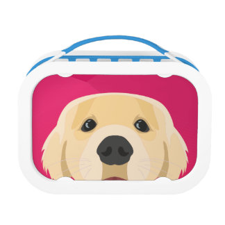Illustration Golden Retriver with pink background Lunch Box