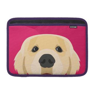 Illustration Golden Retriver with pink background MacBook Sleeve
