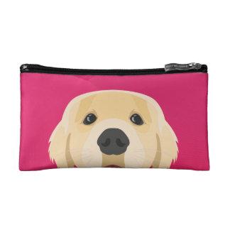 Illustration Golden Retriver with pink background Makeup Bag