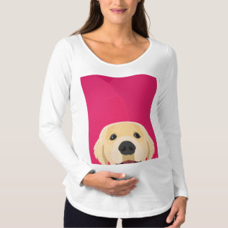 Illustration Golden Retriver with pink background Maternity T-Shirt