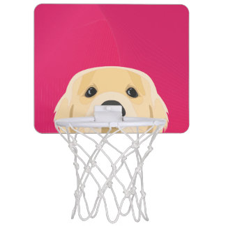Illustration Golden Retriver with pink background Mini Basketball Hoop
