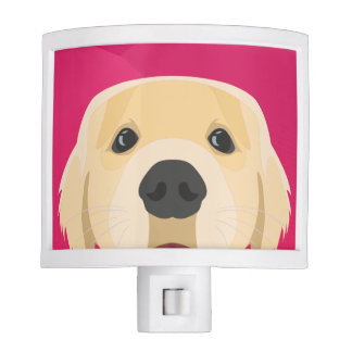 Illustration Golden Retriver with pink background Nite Light
