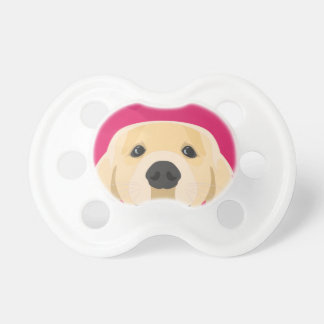 Illustration Golden Retriver with pink background Pacifier