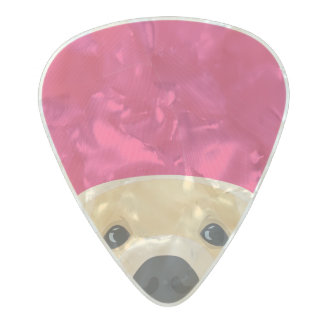 Illustration Golden Retriver with pink background Pearl Celluloid Guitar Pick