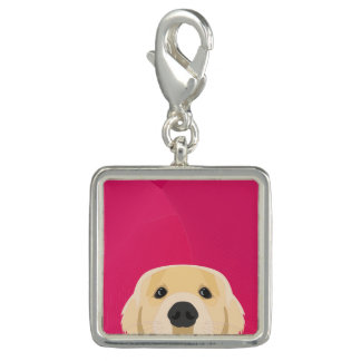 Illustration Golden Retriver with pink background Photo Charms