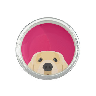 Illustration Golden Retriver with pink background Photo Ring