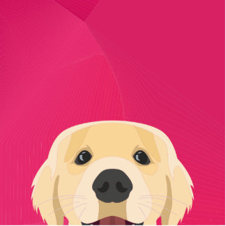 Illustration Golden Retriver with pink background Photo Sculpture Button
