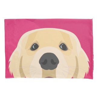 Illustration Golden Retriver with pink background Pillowcase