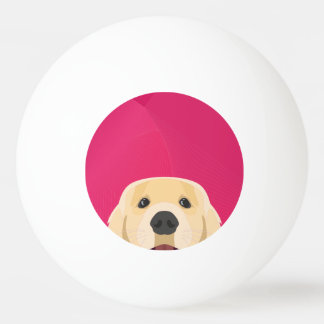 Illustration Golden Retriver with pink background Ping Pong Ball
