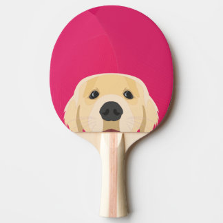 Illustration Golden Retriver with pink background Ping Pong Paddle