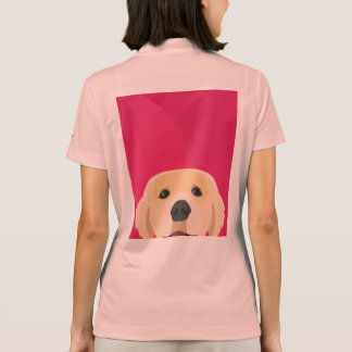 Illustration Golden Retriver with pink background Polo Shirt