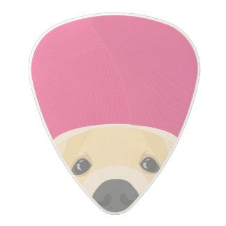 Illustration Golden Retriver with pink background Polycarbonate Guitar Pick