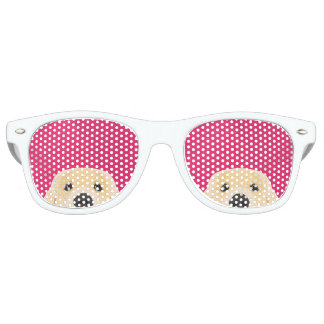 Illustration Golden Retriver with pink background Retro Sunglasses