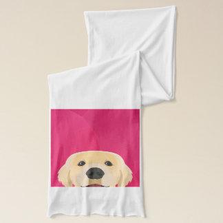 Illustration Golden Retriver with pink background Scarf