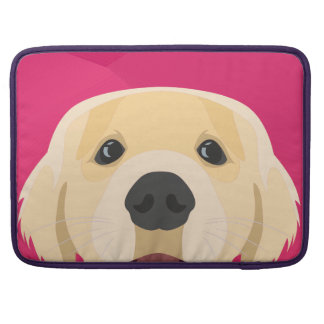 Illustration Golden Retriver with pink background Sleeve For MacBooks