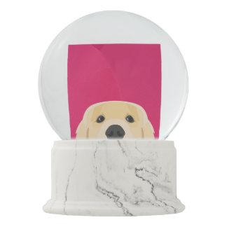 Illustration Golden Retriver with pink background Snow Globe