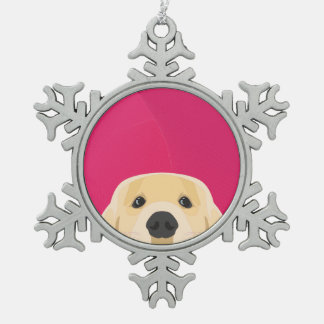 Illustration Golden Retriver with pink background Snowflake Pewter Christmas Ornament