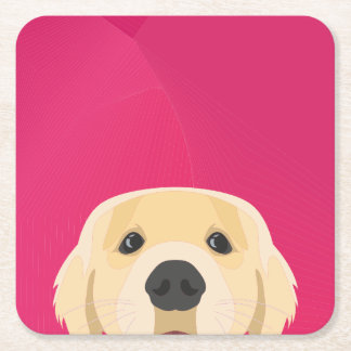 Illustration Golden Retriver with pink background Square Paper Coaster