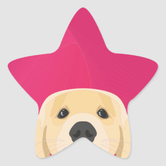 Illustration Golden Retriver with pink background Star Sticker