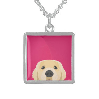 Illustration Golden Retriver with pink background Sterling Silver Necklace