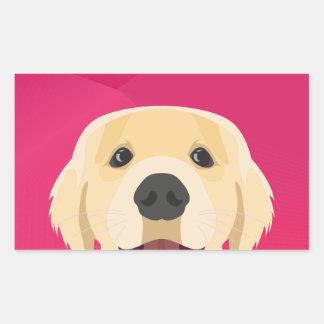 Illustration Golden Retriver with pink background Sticker