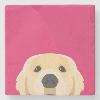 Illustration Golden Retriver with pink background Stone Coaster