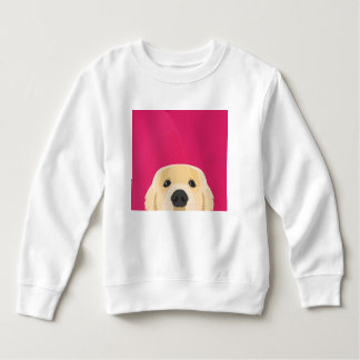 Illustration Golden Retriver with pink background Sweatshirt