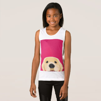 Illustration Golden Retriver with pink background Tank Top