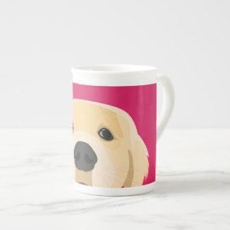 Illustration Golden Retriver with pink background Tea Cup