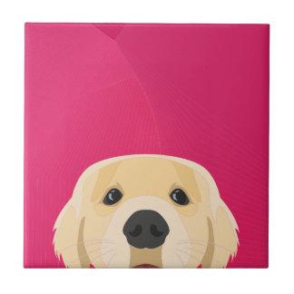 Illustration Golden Retriver with pink background Tile