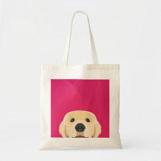 Illustration Golden Retriver with pink background Tote Bag