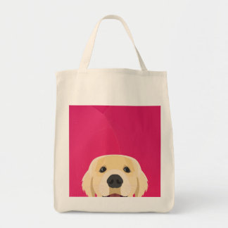 Illustration Golden Retriver with pink background Tote Bag