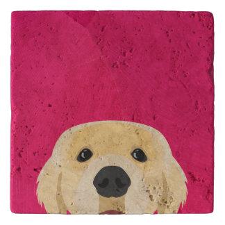 Illustration Golden Retriver with pink background Trivet