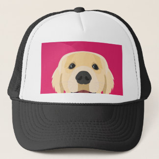 Illustration Golden Retriver with pink background Trucker Hat