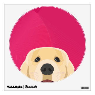 Illustration Golden Retriver with pink background Wall Decal