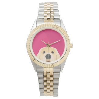 Illustration Golden Retriver with pink background Watch