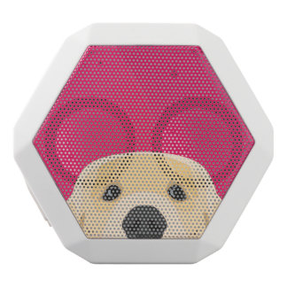 Illustration Golden Retriver with pink background White Bluetooth Speaker