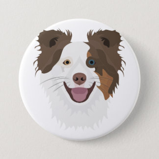 Illustration happy dogs face Border Collie 3 Inch Round Button