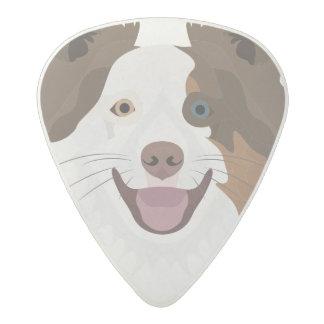 Illustration happy dogs face Border Collie Acetal Guitar Pick