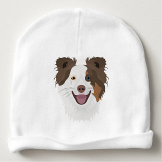 Illustration happy dogs face Border Collie Baby Beanie