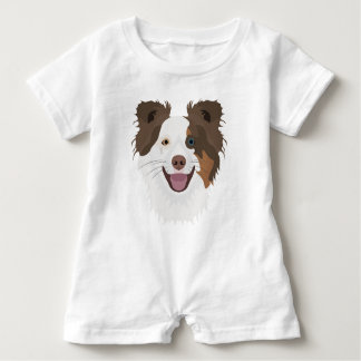 Illustration happy dogs face Border Collie Baby Romper
