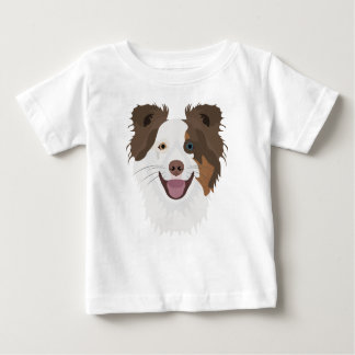 Illustration happy dogs face Border Collie Baby T-Shirt