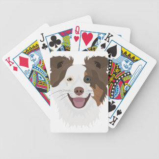 Illustration happy dogs face Border Collie Bicycle Playing Cards