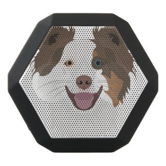 Illustration happy dogs face Border Collie Black Bluetooth Speaker