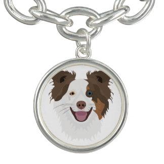 Illustration happy dogs face Border Collie Bracelets