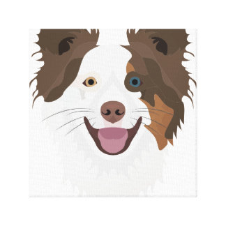 Illustration happy dogs face Border Collie Canvas Print