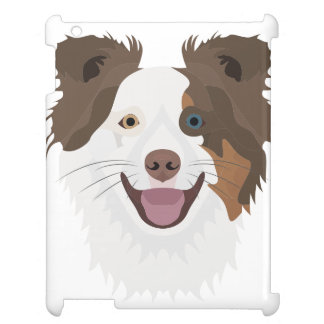 Illustration happy dogs face Border Collie Case For The iPad 2 3 4